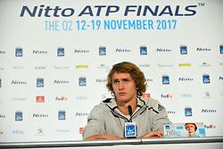 November 10, 2017 - London, United Kingdom - Jack Sock of the USA speaks to the media prior to the Nitto ATP World Tour Finals at O2 Arena, London on November 10, 2017. (Credit Image: © Alberto Pezzali/NurPhoto via ZUMA Press)