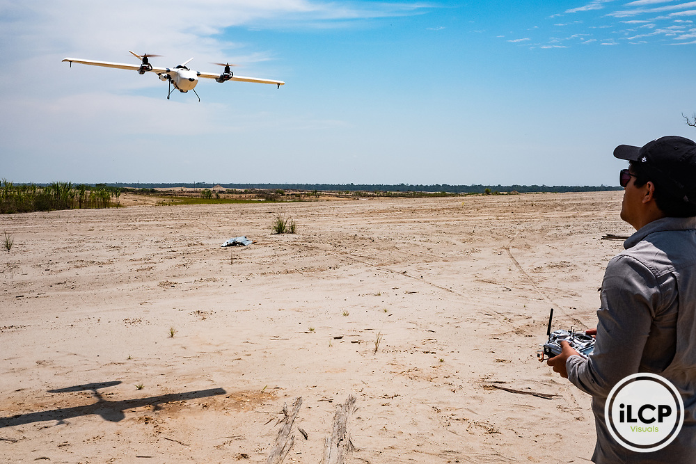 The CINCIA fixed-wing drone flown by Jorge Caballero Espejo, Drone and GIS Coordinator at CINCIA. Following Peru's February 2019 militarized crackdown on illegal and unofficial alluvial gold mining in the La Pampa region of Madre de Dios, Wake Forest University's Puerto Maldonado-based Centro de Innovación Científica Amazonia (CINCIA), a leading research institution for the development of technological innovation for biological conservation and environmental restoration in the Peruvian Amazon, is applying years of scientific research and technical experience related to understanding mercury contamination and managing Amazonian ecosystems. What they learn will help guide urgent remediation, restoration, and reforestation efforts that can also serve as models for how we address the tropic's most dramatically devastated landscapes around the world. La Pampa, Madre de Dios, Peru.