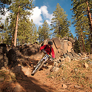 A picture of a man riding a mountain bike down single track trail at high speed