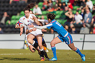 Abigail Brown of England Women (left) attacks the Italy Women defence as Manuela Furlan of Italy Women (right) attempts a tackle during the Women's RBS 6 Nations match at Twickenham Stoop , London<br /> Picture by David Horn/Focus Images Ltd +44 7545 970036<br /> 15/02/2015