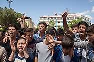 "High school students and young people protest outside the mayor's office in Soma, calling the government ""liars."" An electrical fault caused an explosion in the shaft resulting in at least 282 workers being killed in the disaster. Soma, Western Turkey."