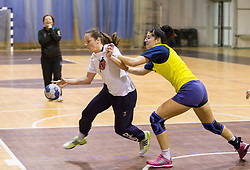 Nina Jericek vs Maja Son during practice session of Slovenian Women handball National Team three days before match against Serbia, on October 24, 2013 in Arena Tivoli, Ljubljana, Slovenia. (Photo by Vid Ponikvar / Sportida)
