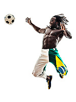 one Brazilian black man soccer player on white background