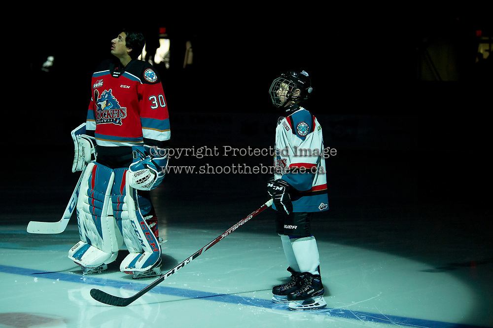 KELOWNA, BC - NOVEMBER 20: The Pepsi Player of the game lines up on the blue line with Roman Basran #30 of the Kelowna Rockets against the Victoria Royals at Prospera Place on November 20, 2019 in Kelowna, Canada. (Photo by Marissa Baecker/Shoot the Breeze)