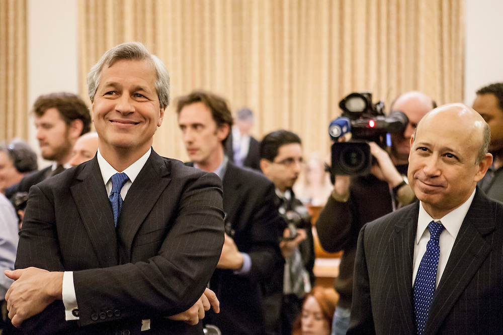 JP Morgan Chase CEO Jamie Dimon, left, and Lloyd Blankfein, CEO of Goldman Sachs, testify before the Financial Crisis Inquiry Commission on January 13, 2010 in Washington, DC. The Congressionally-appointed panel held its first hearing to investigate the causes of the recent financial crisis.