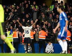 LONDON, ENGLAND - Saturday, December 4, 2010: Everton's Jermaine Beckford celebrates after scoring the equalising goal against Chelsea during the Premiership match at Stamford Bridge. (Pic by: David Rawcliffe/Propaganda)