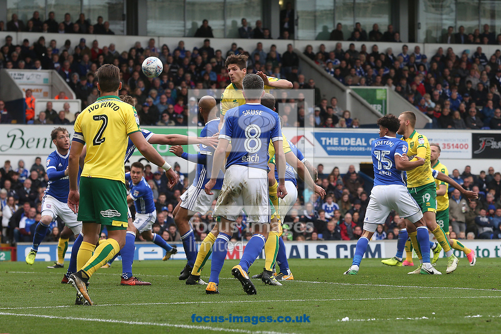 Timm Klose of Norwich heads for goal during the Sky Bet Championship match at Portman Road, Ipswich<br /> Picture by Paul Chesterton/Focus Images Ltd +44 7904 640267<br /> 22/10/2017