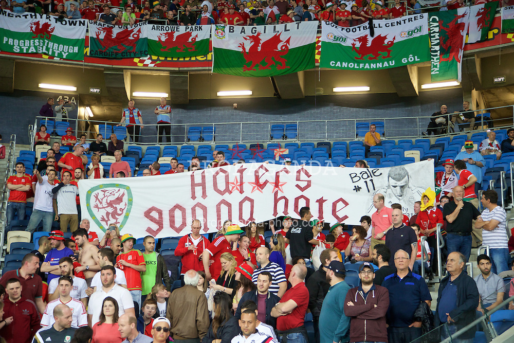 HAIFA, ISRAEL - Saturday, March 28, 2015: Wales' supporters' banner for Gareth Bale 'Haters gonna hate' before the UEFA Euro 2016 qualifying Group B match against Israel at the Sammy Ofer Stadium. (Pic by David Rawcliffe/Propaganda)