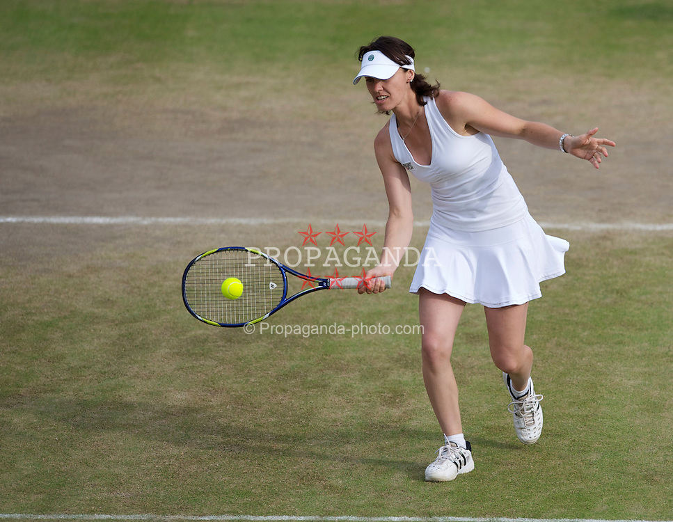 LONDON, ENGLAND - Tuesday, June 29, 2010: Martina Hingis (SUI) during the Ladies' Invitation Doubles match on day eight of the Wimbledon Lawn Tennis Championships at the All England Lawn Tennis and Croquet Club. (Pic by David Rawcliffe/Propaganda)
