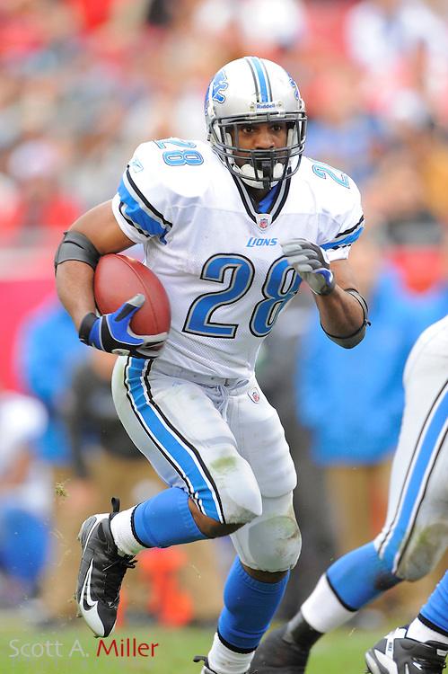 Dec. 19, 2010; Tampa, FL, USA; Detroit Lions running back Maurice Morris (28) heads up field the Lions 23-20 overtime win over the Tampa Bay Buccaneers at Raymond James Stadium. ..©2010 Scott A. Miller