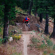 Andrew Whiteford descends the Candyland (Jimmy's Mom) Trail on Teton Pass near Wilson, Wyoming.
