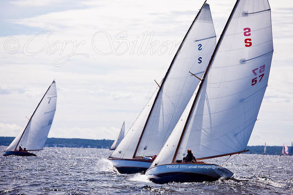 Eaglet, Danae, and Kandahar 2, S Class, sailing in the Indian Harbor Classic Yacht Regatta.