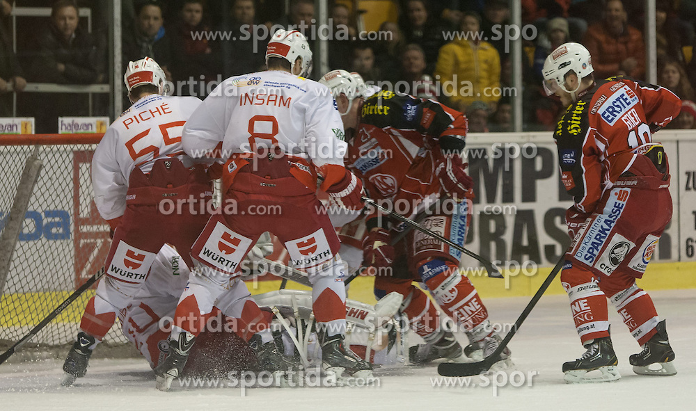 05.01.2014, Stadthalle, Klagenfurt, AUT, EBEL, KAC vs HC Bozen, 64. Runde, im Bild Sebastian Piche (HC Bolzano, #55), Marco Insam (HC Bolzano, #8), Mike Siklenka (Kac, #23), Tylor Scofield (Kac, #10), Jaroslav Hübli (HC Bolzano, #24)// during the Erste Bank Icehockey League 64th Round match betweeen EC KAC and HC Bozen at the City Hall, Klagenfurt, Austria on 2014/01/05. EXPA Pictures © 2014, PhotoCredit: EXPA/ Gert Steinthaler