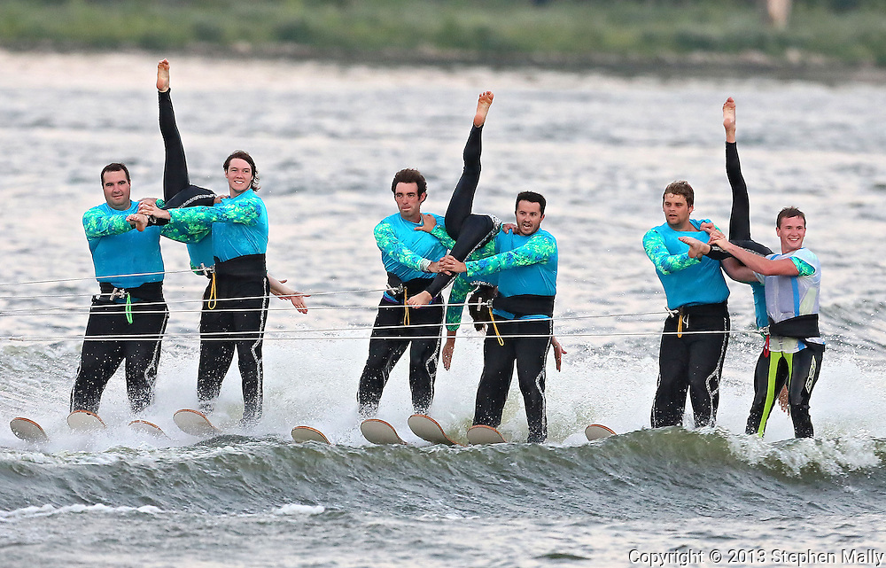 Members of the Five Seasons Ski Team perform during their show on the Cedar River in Cedar Rapids on Thursday, August 29, 2013.