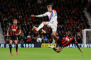 Alexander Sorloth (9) of Crystal Palace is tackled by Jefferson Lerma (8) of AFC Bournemouth during the Premier League match between Bournemouth and Crystal Palace at the Vitality Stadium, Bournemouth, England on 1 October 2018.
