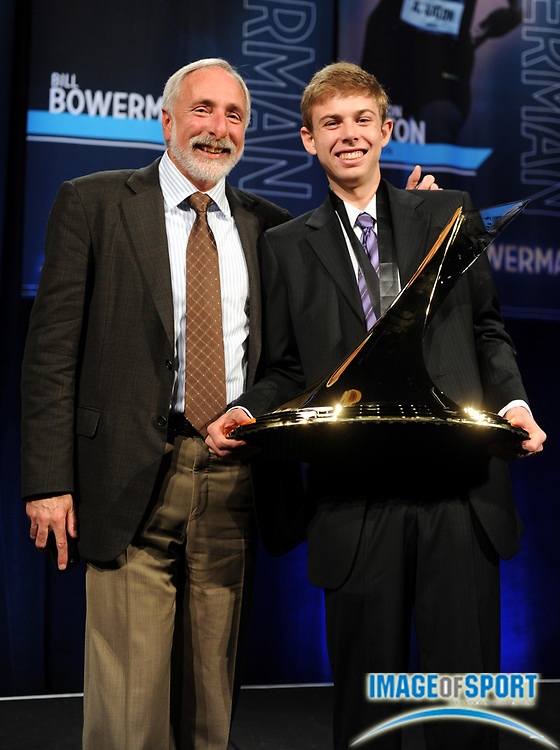 Dec 16, 2009; Orlando, FL, USA; Bowerman Award winner Galen Rupp of Oregon (right) poses with coach Vin Lannana at the USTFCCCA convention at the J.W. Marriott Grande Lakes.