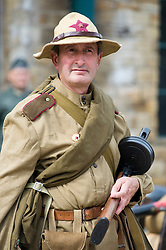 A re-enactor dressed as a Soviet soldier from the Russian 13th Guards Rifle Division takes part in a living history display at the Elsecar Heritage Centre 1940s Weekend <br />
