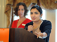 WARMISNER, PA -  OCTOBER 10: Pooja Tilvawala, 17, of Bensalem, Pennsylvania speaks to the audience at the 21st Annual YWCA Breakfast with Friends October 10, 2013 at Spring Mill Manor in Warminster, Pennsylvania.  (Photo by William Thomas Cain/Cain Images)