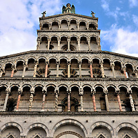 San Michele in Foro Fa&ccedil;ade Detail in Lucca, Italy<br />
