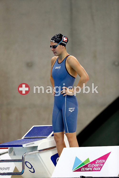 Svenja STOFFEL of Switzerland prepares herself before competing in the women's 50m Freestyle Heats during the LEN European Swimming Championships held at the London Aquatics Centre in London, Great Britain, Saturday, May 21, 2016. (Photo by Patrick B. Kraemer / MAGICPBK)