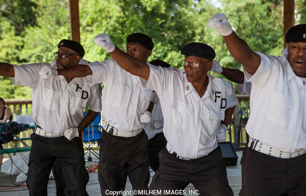 After a nearly thirty-year hiatus, the city's black precision drill team, the French Dukes, is back for at least two scheduled performances this summer at picnics sponsored by organizations associated the city's oldest black neighborhood, the near north side originally settled in the 1840s. In this collection, French Dukes Drill Team perform at Ypsilanti Heritage Festival 2013 and Veterans Park in Ann Arbor 2012.