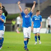 Rosenborg v St Johnstone....18.07.13  UEFA Europa League Qualifier.<br /> FRAZER WRIGHT CELEBRATES AT FULL TIME<br /> Picture by Graeme Hart.<br /> Copyright Perthshire Picture Agency<br /> Tel: 01738 623350  Mobile: 07990 594431