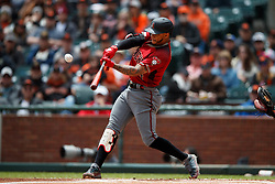SAN FRANCISCO, CA - MAY 26: Ketel Marte #4 of the Arizona Diamondbacks hits a home run against the San Francisco Giants during the first inning at Oracle Park on May 26, 2019 in San Francisco, California.  (Photo by Jason O. Watson/Getty Images) *** Local Caption *** Ketel Marte