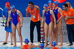 Coach Arno Havenga of Netherlands, Catharina Van Der Sloot #4 of Netherlands, Bente Rogge #7 of Netherlands during the semi final Netherlands vs Russia on LEN European Aquatics Waterpolo January 23, 2020 in Duna Arena in Budapest, Hungary