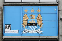 The current Manchester City club crest displayed outside the Etihad Stadium - Mandatory byline: Matt McNulty/JMP - 07966 386802 - 26/12/2015 - FOOTBALL - Etihad Stadium - Manchester, England - Manchester City v Sunderland - Barclays Premier League