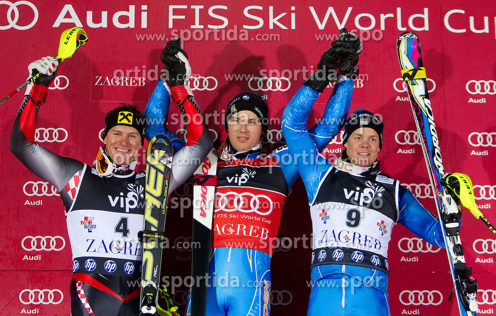 6.1.2011 Sljeme, Zagreb, CRO, Audi FIS World Cup Ski Alpin, Men, Slalom, at Picture second placed KOSTELIC Ivica (CRO), winner MYHRER Andre (SWE) and third placed HARGIN Mattias (SWE) celebrate at flower ceremony after the 2nd run; SPORTIDA PHOTO AGENCY © 2011, PhotoCredit: SPORTIDA / Vid Ponikvar