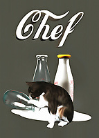 This fine art piece shows a cat looking at the aftermath of some spilled milk. You can't say for sure what the cat might be thinking, but you can be certain that Chef Kitty is going to make sure not a drop of that milk goes to waste. We also can't help but wonder if the recipe called for milk, and what the cat is going to do with the milk that has spilled to the ground. More likely than not, the cat will clean up the milk the old-fashioned way, before moving on to something else! What else do you think they will make?