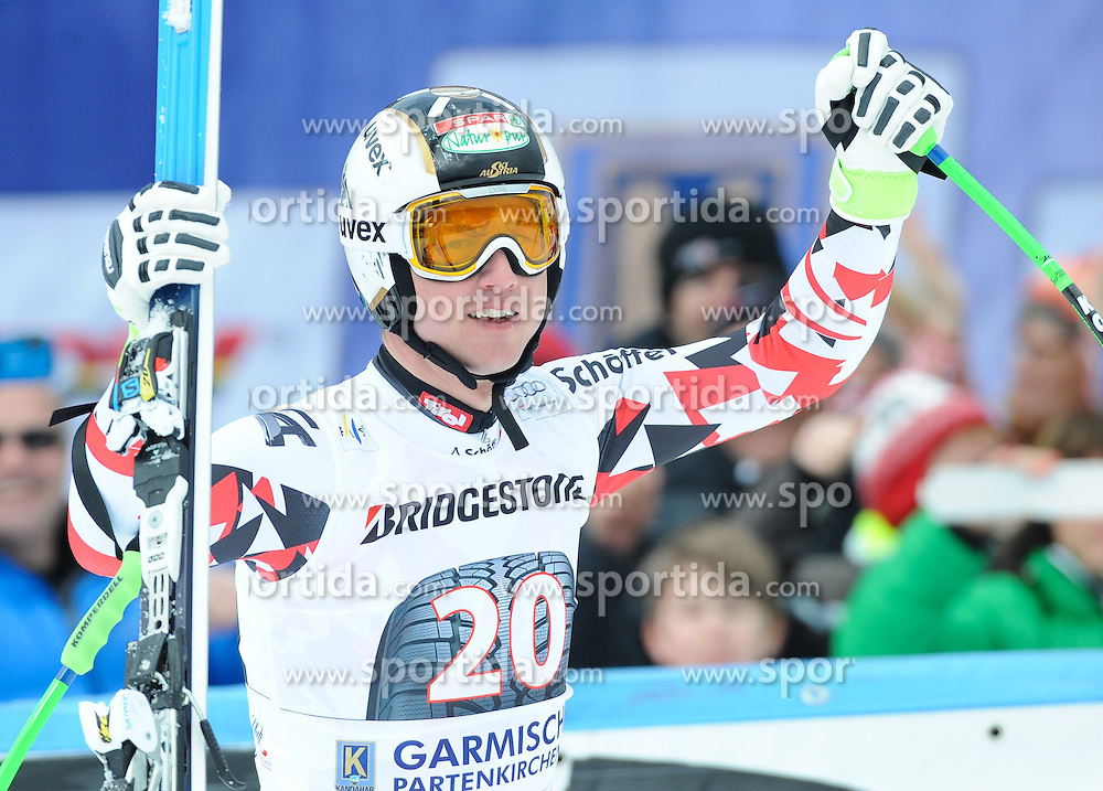 28.02.2015, Kandahar, Garmisch Partenkirchen, GER, FIS Weltcup Ski Alpin, Garmisch Partenkirchen, Abfahrt, Herren, im Bild Hannes Reichelt of Austria // reacts after his run for the men's Downhill of the FIS Ski Alpine World Cup at the Kandahar in Garmisch Partenkirchen, Germany on 2015/02/28. EXPA Pictures © 2015, PhotoCredit: EXPA/ Erich Spiess