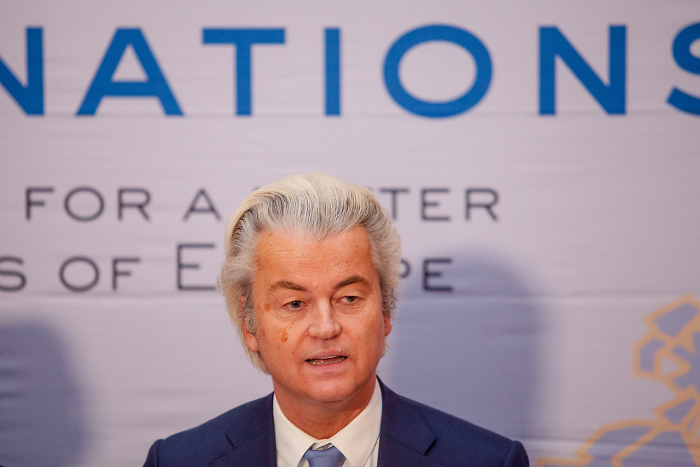 """Geert Wilders speaking during the press conference of the European anti-migrant parties """"Europe of Nations and Freedom"""" (ENF) in Prague. Attending were Marie Le Pen from France, Geert Wilders from Holland and Tomio Okamura of the Freedom and Direct Democracy (SPD) movement from Czech Republic which was hosting the meeting. Prague, 16.12.2017"""