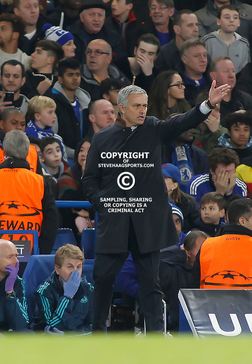 LONDON, ENGLAND - NOVEMBER 04 2015: Manager Jose Mourinho of Chelsea during the UEFA Champions League match between Chelsea and Dynamo Kyiv at Stamford Bridge on November 04, 2015 in London, United Kingdom.
