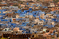 blue house in the beautiful city of jodhpur in rajasthan state in india
