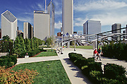 View of city skyline and Millenium Park, Chicago, Illinois