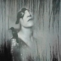 Conceptual image of female face with bird on shoulder and face