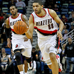 February 10, 2012; New Orleans, LA, USA; Portland Trail Blazers small forward Nicolas Batum (88) against the New Orleans Hornets during the a game at the New Orleans Arena. The Trail Blazers defeated the Hornets 94-86. Mandatory Credit: Derick E. Hingle-US PRESSWIRE