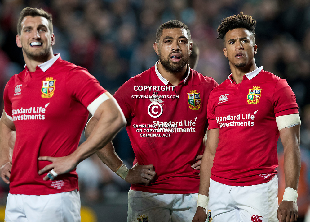 Sam Warburton, Taulupe Faletau and Anthony Watkins during game 7 of the British and Irish Lions 2017 Tour of New Zealand, the first Test match between  The All Blacks and British and Irish Lions, Eden Park, Auckland, Saturday 24th June 2017<br /> (Photo by Kevin Booth Steve Haag Sports)<br /> <br /> Images for social media must have consent from Steve Haag