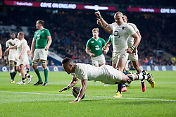 Anthony Watson of England scores a try - Mandatory byline: Patrick Khachfe/JMP - 07966 386802 - 27/02/2016 - RUGBY UNION - Twickenham Stadium - London, England - England v Ireland - RBS Six Nations.