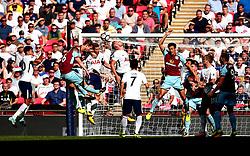 Ben Mee and Johann Gudmundsson of Burnley challenge Jan Vertonghen and Toby Alderweireld of Tottenham Hotspur to a header - Mandatory by-line: Robbie Stephenson/JMP - 27/08/2017 - FOOTBALL - Wembley Stadium - London, England - Tottenham Hotspur v Burnley - Premier League