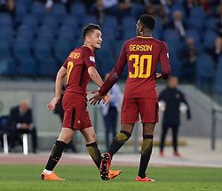 April 18, 2018 - Rome, Italy - Cengiz Under celebrates after score goal 1-0 during the Italian Serie A football match between A.S. Roma and AC Genoa at the Olympic Stadium in Rome, on april 18, 2018. (Credit Image: © Silvia Lore/NurPhoto via ZUMA Press)