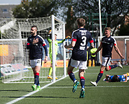 Hand on heart - Dundee&rsquo;s Marcus Haber celebrates his winner - Kilmarnock v Dundee in the Ladbrokes Scottish Premiership at Rugby Park, Kilmarnock, Photo: David Young<br /> <br />  - &copy; David Young - www.davidyoungphoto.co.uk - email: davidyoungphoto@gmail.com