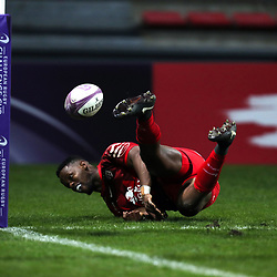 Wandile Mjekevu of Toulouse reacts after missing a chance to score a try during the European Challenge Cup match between Toulouse and Lyon on December 7, 2017 in Toulouse, France. (Photo by Manuel Blondeau/Icon Sport)