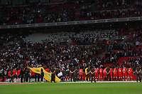 Photo: Tony Oudot/Richard Lane Photography.  England v Czech Republic. International match. 20/08/2008. <br /> The teams line up for the national anthems in front of an empty stadium .
