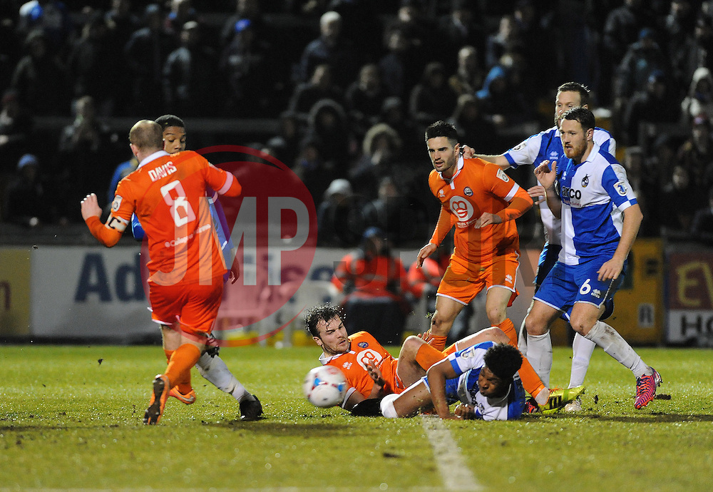Bristol Rovers' Ellis Harrison causes more problems for the Braintree defence - Photo mandatory by-line: Neil Brookman/JMP - Mobile: 07966 386802 - 24/02/2015 - SPORT - Football - Bristol - Memorial Stadium - Bristol Rovers v Braintree - Vanarama Football Conference