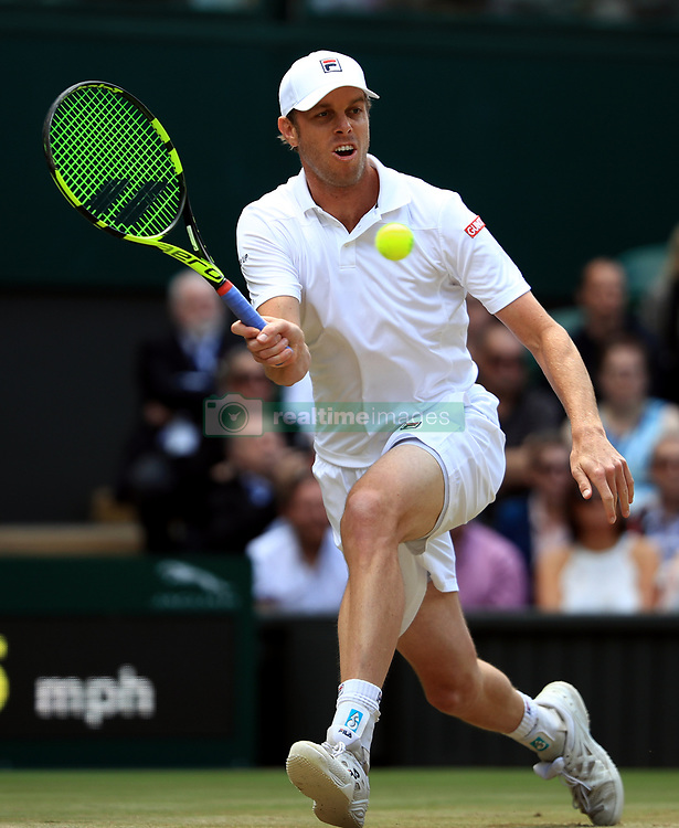 Sam Querrey in action against Andy Murray on day nine of the Wimbledon Championships at The All England Lawn Tennis and Croquet Club, Wimbledon.