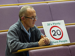 """© Licensed to London News Pictures . 06/11/2012 . Manchester , UK . A member of the audience and """"20's Plenty"""" campaigner for lower speed limits . Manchester Police and Crime Commissioner debate this evening (6th November 2012) , at the Roscoe Building , the University of Manchester . Elections for 41 local Police and Crime Commissioners take place across the UK on 15th November 2012 . Photo credit : Joel Goodman/LNP"""
