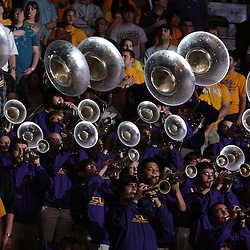 14 February 2009: The LSU band performs the national anthem prior to tip off of a NCAA basketball game between SEC rivals the Ole Miss Rebels and the LSU Tigers at the Pete Maravich Assembly Center in Baton Rouge, LA.