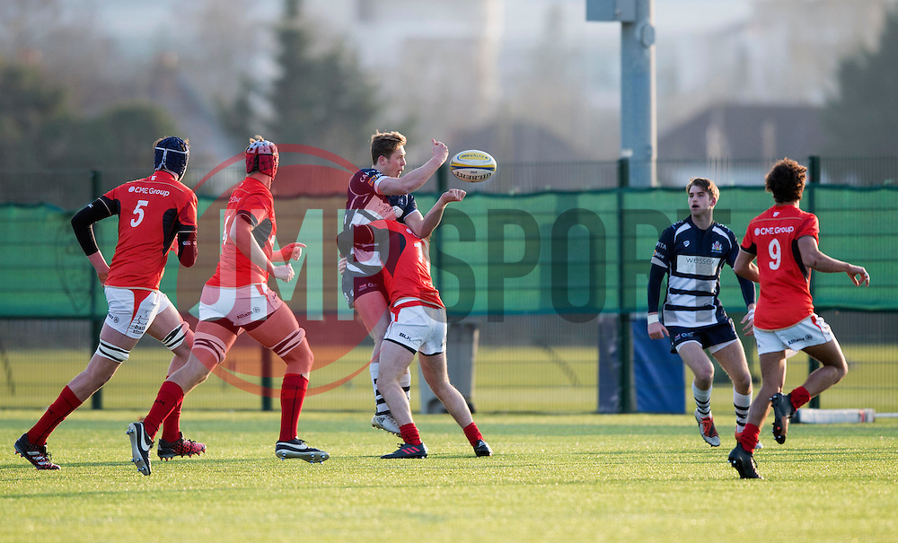 Matt Welsh (Clifton College) of Bristol Rugby Academy U18 offloads the ball - Mandatory by-line: Paul Knight/JMP - 21/01/2017 - RUGBY - SGS Wise Campus - Bristol, England - Bristol Academy U18 v Saracens Academy U18 - Premiership Rugby Academy U18 League